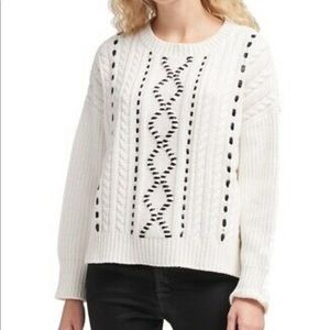 NWT DKNY Cableknit Crew Neck Faux Leather Detail